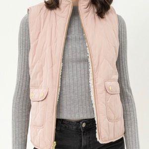 Reversable Sherpa Vest - Baby Pink Light Blush
